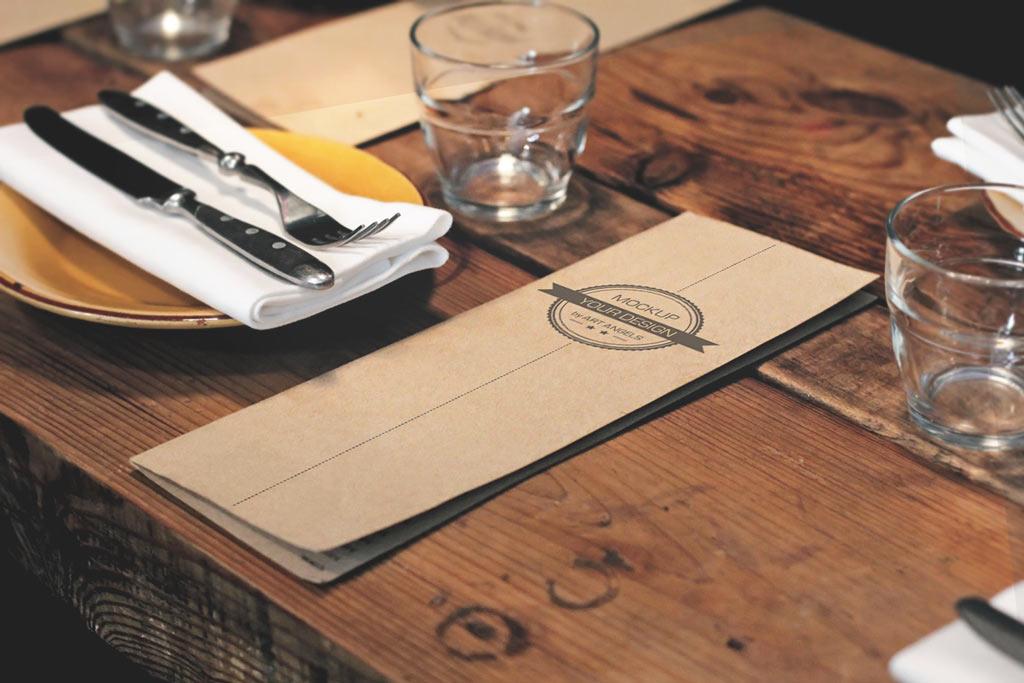 Menu Card On Table Mockup Mockup World