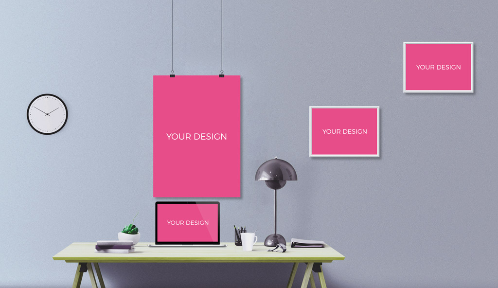 Office Wall With Photo Frames Mockup