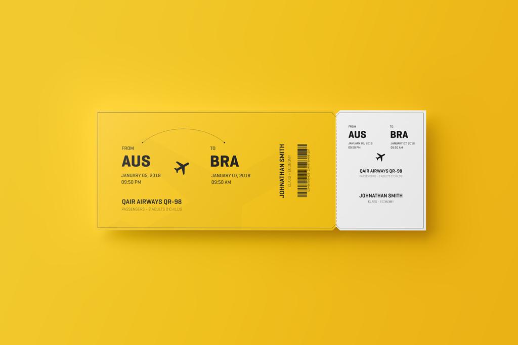 Airplane Ticket Mockup