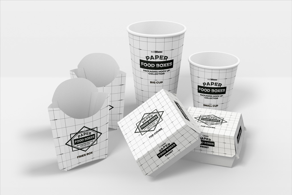 Fast Food Packaging Boxes And Cups Mockup Mockup World