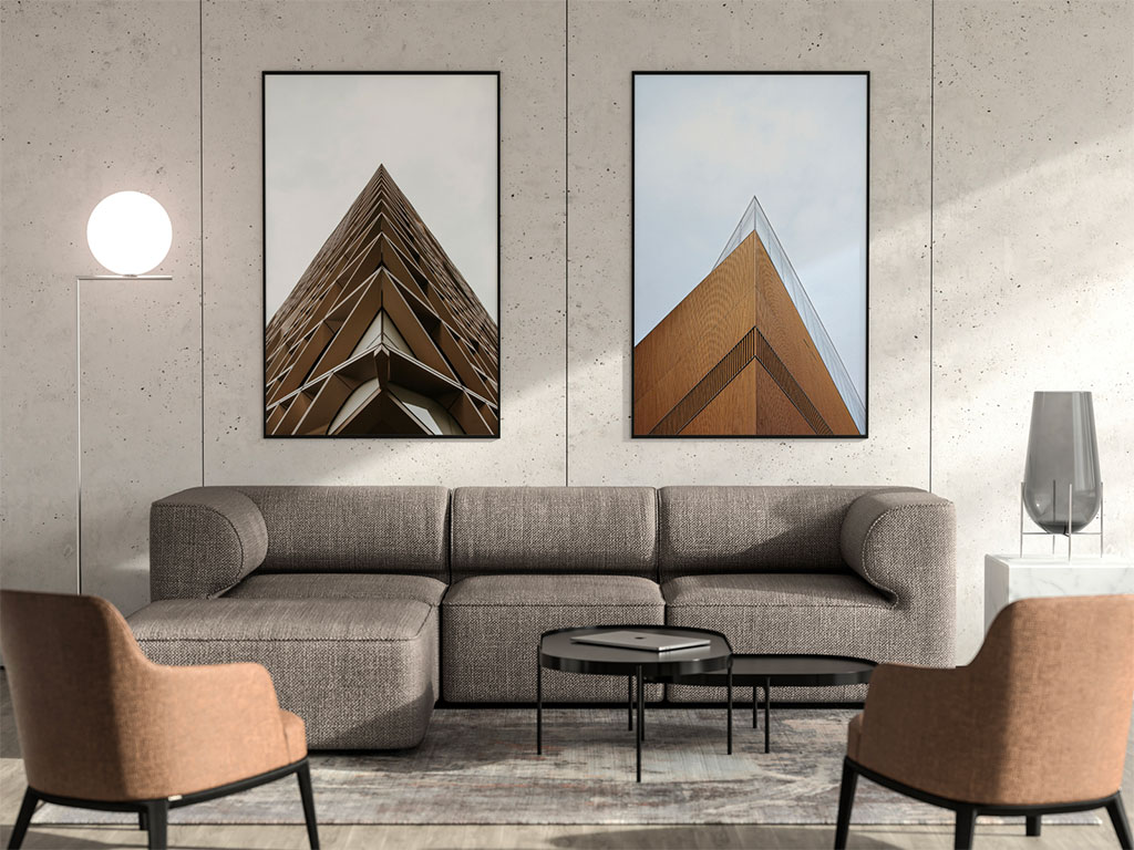 Living Room With Two Poster Frames Mockup Mockup World