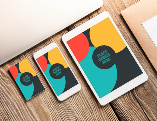 Business Card And Apple Devices Mockup Mockup World