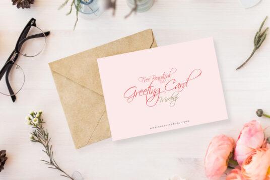 Flowery Invitation Card Mockup Mockup World