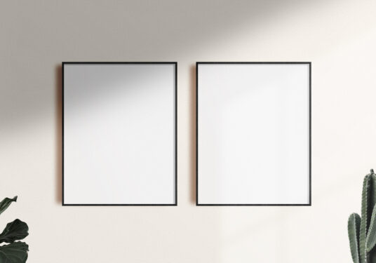 Two Poster Frames On A Wall Mockup Mockup World